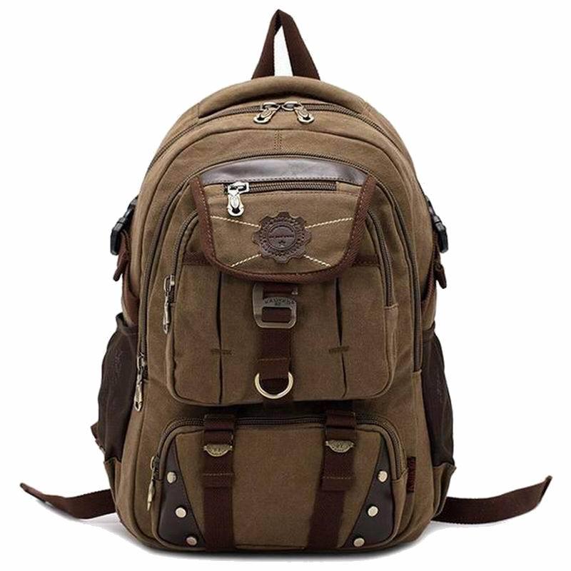 3a0dbcff67dd Brand designer canvas backpacks for men vintage Leather rucksack school  student laptop backpack women travel hiking