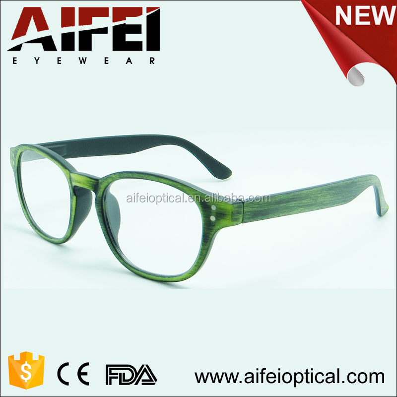 New design optics reading glasses with wood pattern made in China