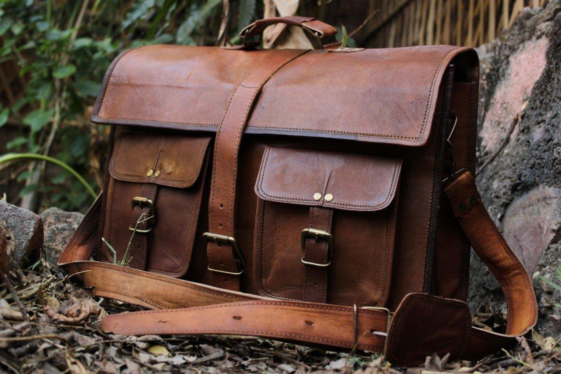 "handolederco. 18"" Inches Classic Adult Unisex Cross Shoulder Leather Messenger Laptop Briefcase Bag Satchel Brown"
