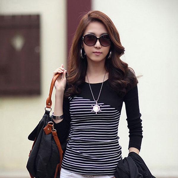 Новый 20115 лето осень женщины футболка майка топ мода тис хлопок о-образным вырезом полоса полный рукав леди Большой размер S ~ 3XL