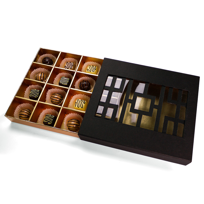 Premium laser cutting chocolate carton packaging box choco truffle boxes with 16 cavity