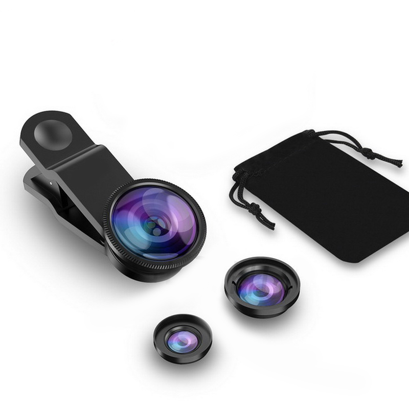 Universal clip wide angle telephoto lens for cell phone