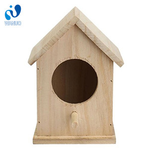 2018 Top New Natural Color Wooden Bird House,Popular Wooden Bird House,Cheap Outdoor Hanging Wooden Birds House For Kit