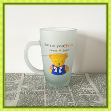 Customized design 300ml eco-friendly frosted glass mug,sweet beer glass cup for Thanksgiving gift