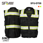 Customized Fabric Safety Vest Mesh Safety Vest Reflective Customized Wholesale Mesh Fabric Black Working Man's Road Work Safety Vest