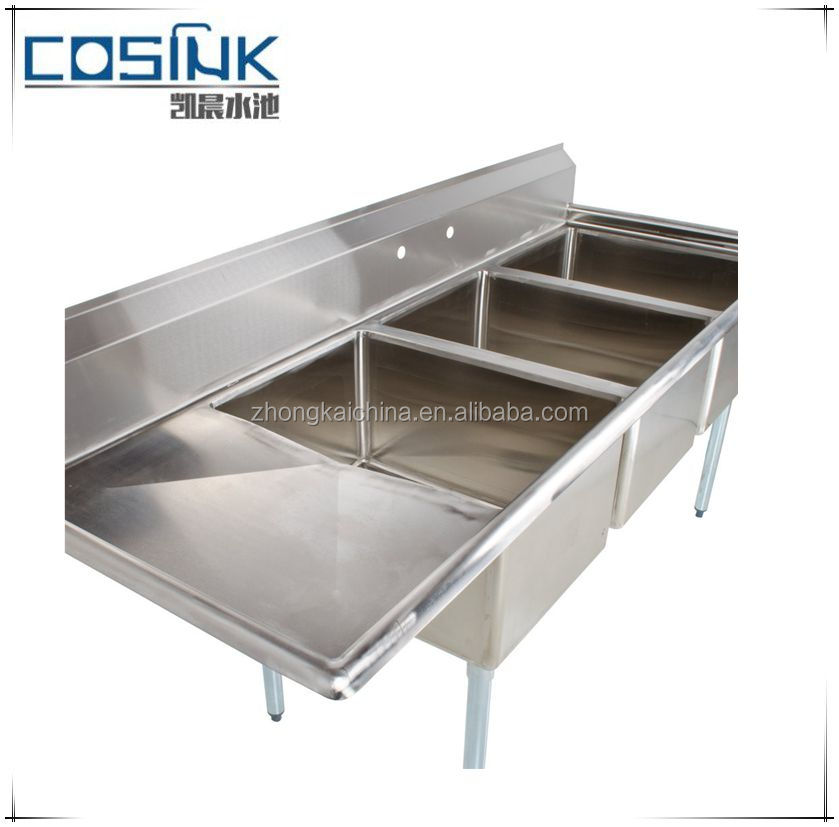 3 Three Bowl Commercial Stainless Steel Compartment SS Sinks