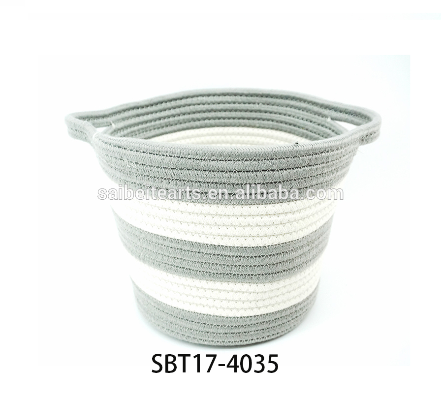 cotton rope woven taper storage basket with open handles