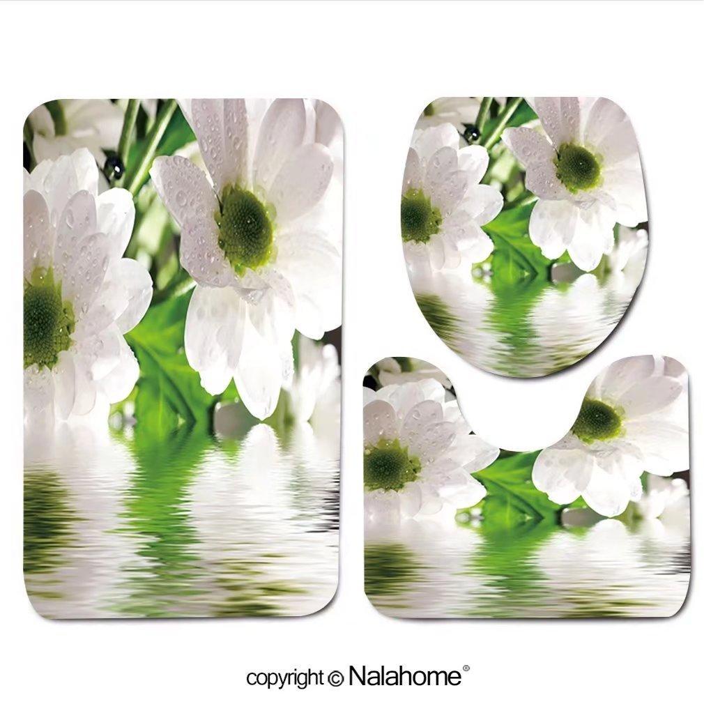 "3 Piece Bath Rug Set Nalahome design-8759881 Closeup of white daisy-gerbera with s Bathroom Rug(15.7""x23.62"")/large Contour Mat(15.7""x15.7"")/Lid Cover(15.7""x16.9"")For Bathroom(orange)"