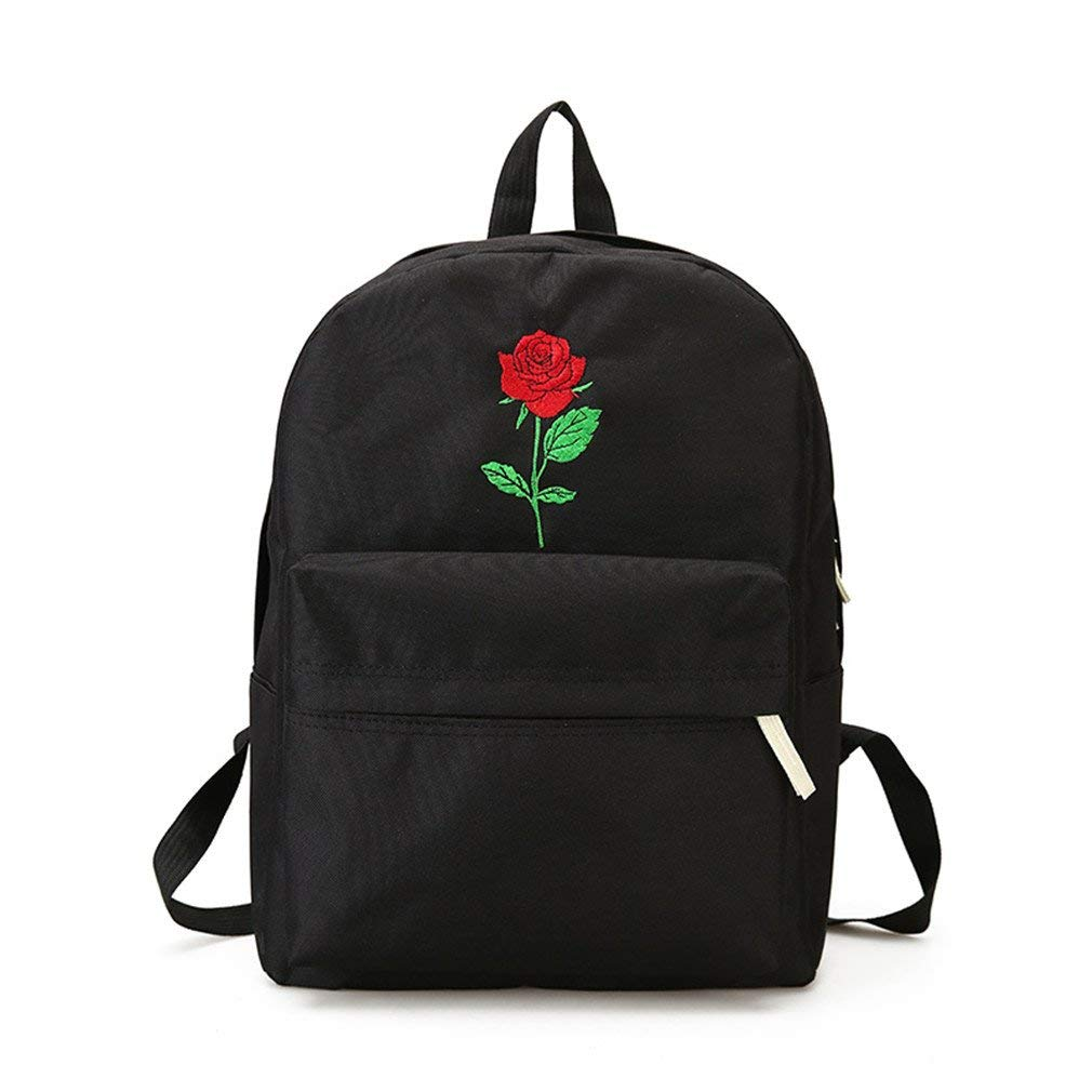 Get Quotations · Men Heart Canvas Backpack Cute Women Rose Embroidery  Backpacks For Teenagers Women s Travel Bags Black rose aca63403a
