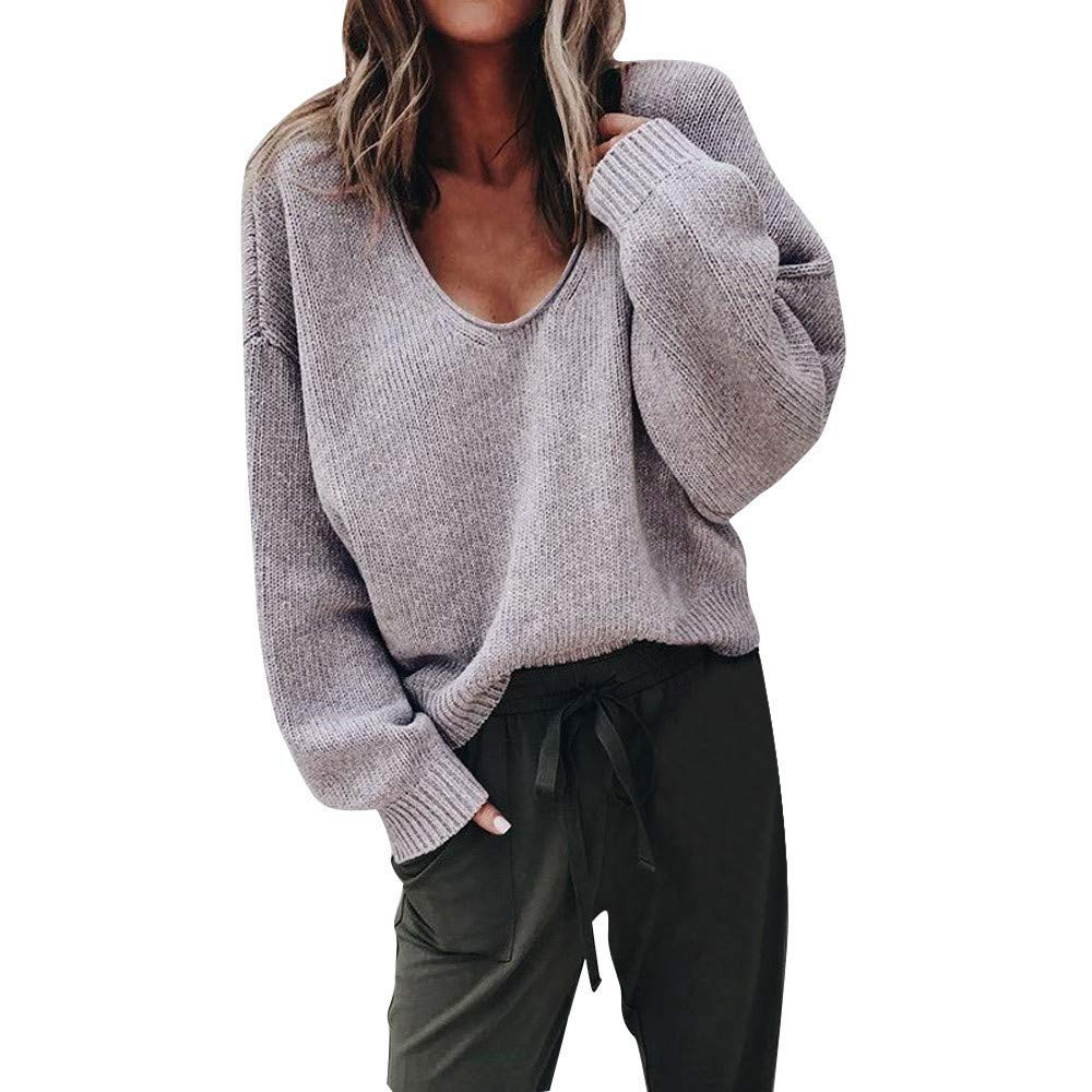 STORTO Women's Autumn Deep V-Neck Sweater,Long Sleeve Solid Loose Outwear Tops