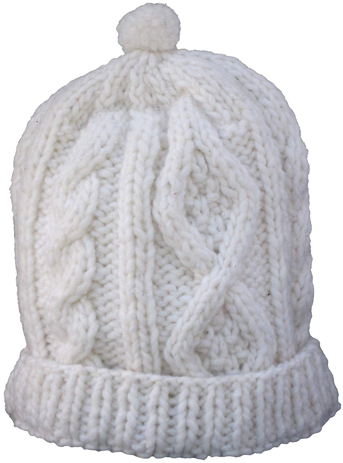 Cable Knit 100 Per Cent Wool Cap with Polar Fleece Lining