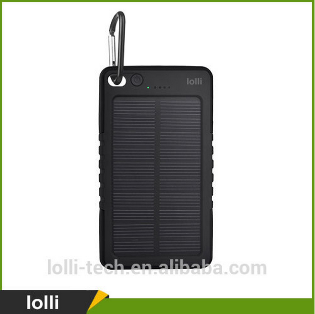 6000mah Colorful Oval Water/dirt/shock proof dual usb Portable Solar Power Bank with LED light