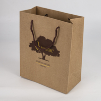 Custom printed high quality recycle brown kraft paper bag with gold foil logo for cosmetic