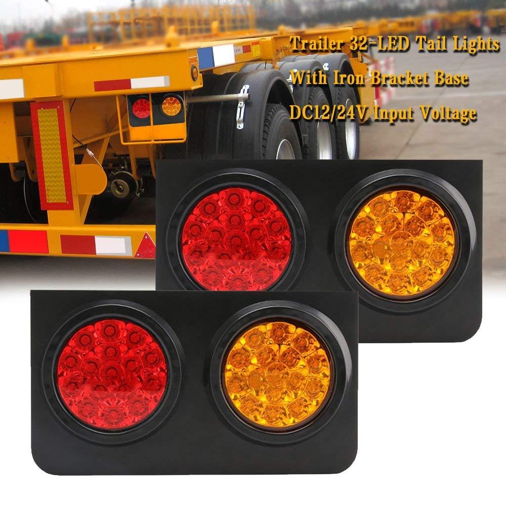 4 Pcs TOPPOWER 4 Round led Stop//Turn//Tail Lights RED 4Pcs Trailer Tail Light with Grommet Waterproof led Side Maker Light for RV Trucks Trailer DC 12-24V