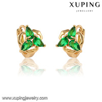 28230-Xuping 2016 New Fashion Diamond Leaves Huggie Earrings