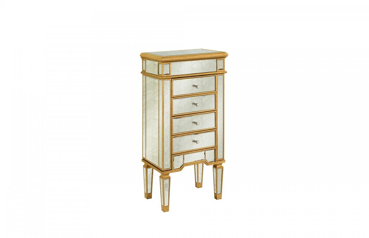 Get Quotations · Elegant Decor Florentine Solid Wood 4 Drawer Antique  Mirrored Jewelry Armoire With Hand Applied Gold Leaf