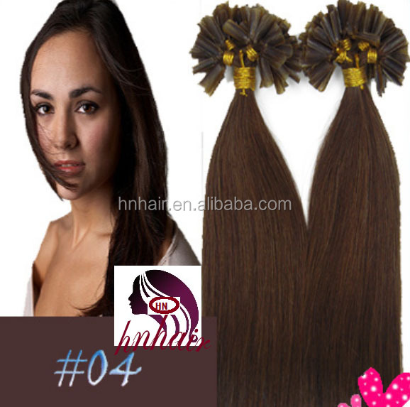 Hot Sale High Quality 100% Remy Human Hair Tangle Free Double Drawn Full Cuticle U Tip Prebonded Hair #04 Dark Brown