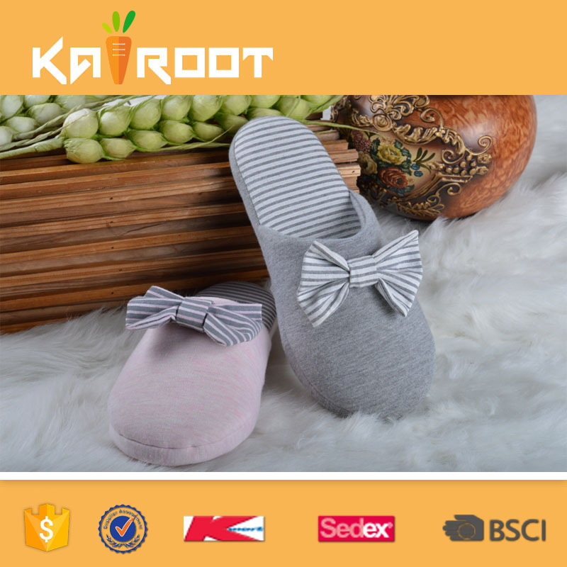 Wholesale cotton fabric soft women fancy bedroom slippers