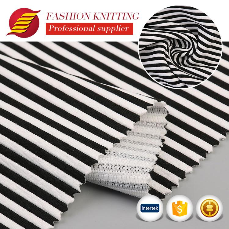Good price beautiful soft weft polyester stripe jacquard fabric