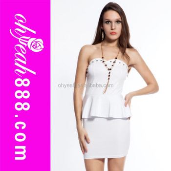 Women Strapless Short Tight White Dresses Formal - Buy White ...