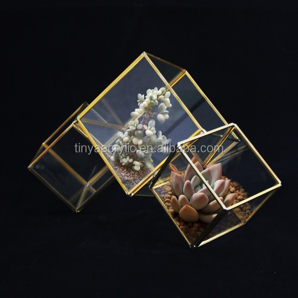 Hexagon three tiers plus one door Vintage Brass & Clear Glass Box Jewelry display storage box case