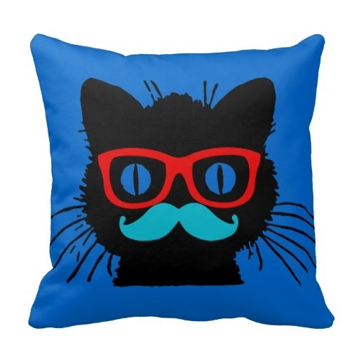 Surprised Hipster Cat Pillow Case With Glasses And Mustache (Size: 20
