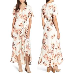 Long Languid Dress 100% rayon floral print maxi dress for women