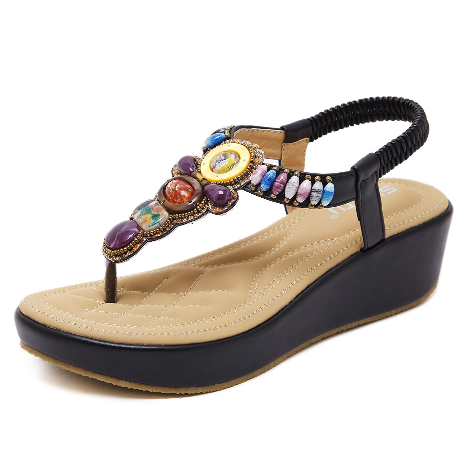 4f5fa48c2919 Get Quotations · Huagmei Womens Wedge Sandals Thong Platform Beaded  Slingback Bohemia Summer Sandal