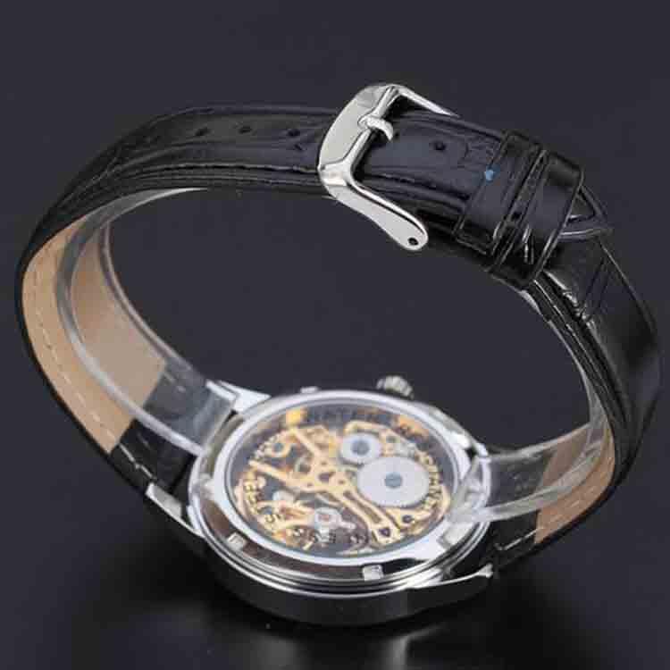 Mechanical Skeleton Gold Mens Customized Automatic OEM Wrist Watches Luxury Men Wristwatch Custom Logo  Blue Needle Gear Watch