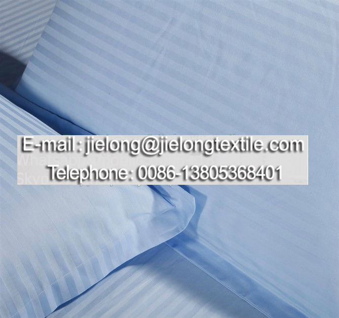 China supplier cotton or polycotton 1cm blue satin stripe hotel bedding set bed line fitted sheet fabric