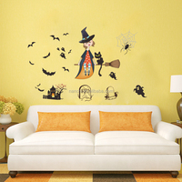 Halloween Decor wall decals Lovely witch horror Ghost Castle for kids children room living room wall sticker
