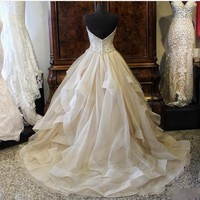 ZH0715X 2019 Organza Quinceanera Dresses Sweetheart Sleeveless Lace Up Floor Length Ball Gown Wedding Dress