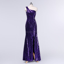 Free shipping one shoulder cheap sexy wholesale custom-made 2015 purple sequined evening dress CWFacc3528