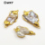 WT-JP079 Irregular Shape In Double Hoops Gold Capped Pendant Natural Wild Coast Jewelry for woman Freshwater Pearl Pendant