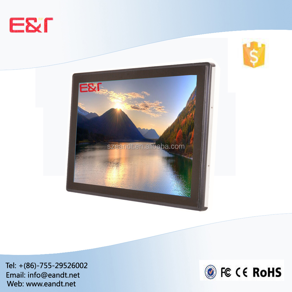"17"" Full flat capacitive touchscreen industrial lcd monitor for kiosk"