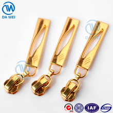 DW no.3 plated gold zipper slider auto-lock custom fancy design metal zipper puller