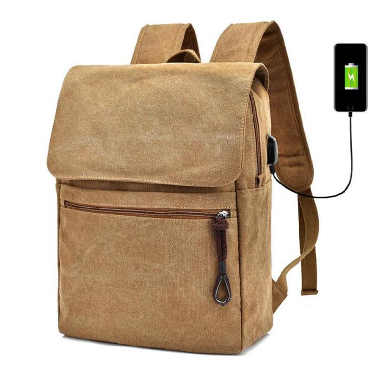 Hot stile di ricarica USB del computer portatile borse multifunzionale di viaggio del sacchetto di scuola della tela di canapa zaino