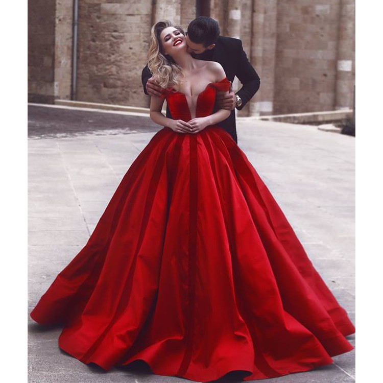 Sexy Deep V Neck Red Wedding Dress Off Shoulder Customized Color Ball Gown Evening Dresses Buy Red Wedding Dress Customized Wedding Dress Ball Gown Ball Gown Evening Dresses Product On Alibaba Com