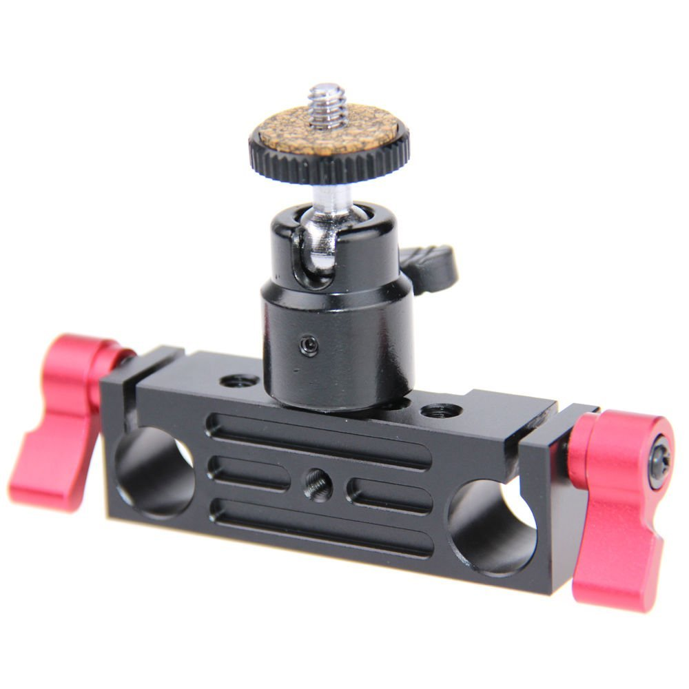 CAMVATE 15mm Rod Clamp Railblock Articulated 1/4 Hot Shoe Mount Mini Ball Head for Camear Flash Bracket Holder(Red)
