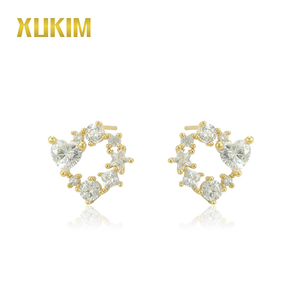 E14009 Xukim 14K Gold New Style Pave Setting Diamond Stud Jewelry Earrings