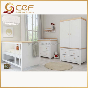 Muebles Del Dormitorio Del Bebé De Madera Cuna Armario Mesa De ...