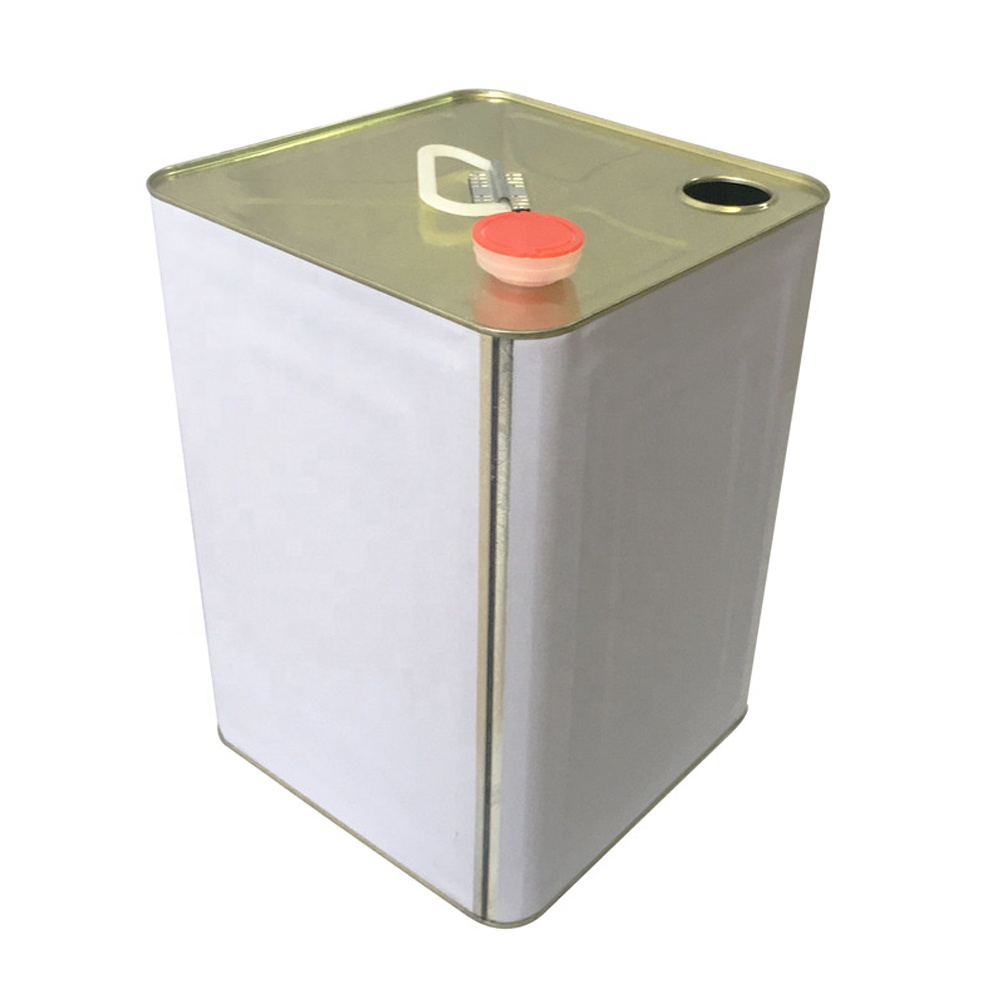 oil usage 18L square metal tin bucket with handle and spout caps