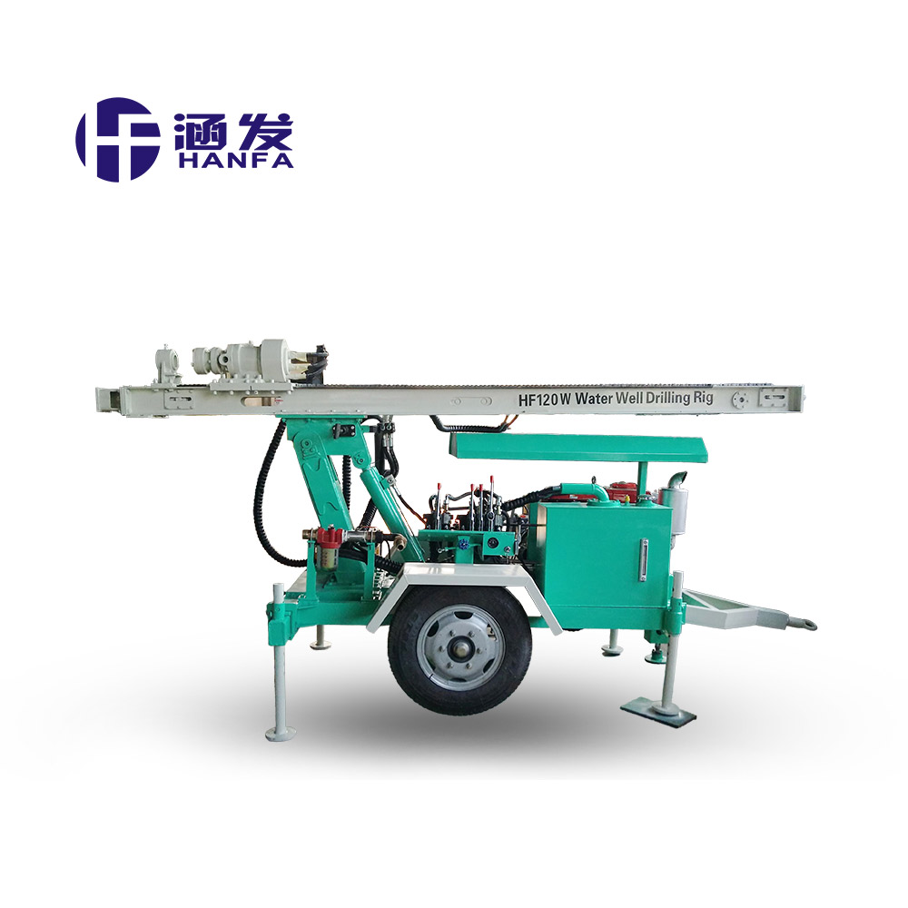HF120W 120m water well trailer mounted drilling rig