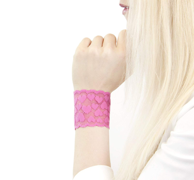 239ea9d5ebcb Get Quotations · Short Lace Wrist Cuff Bracelet (Pink Hearts) Stretch for  Women