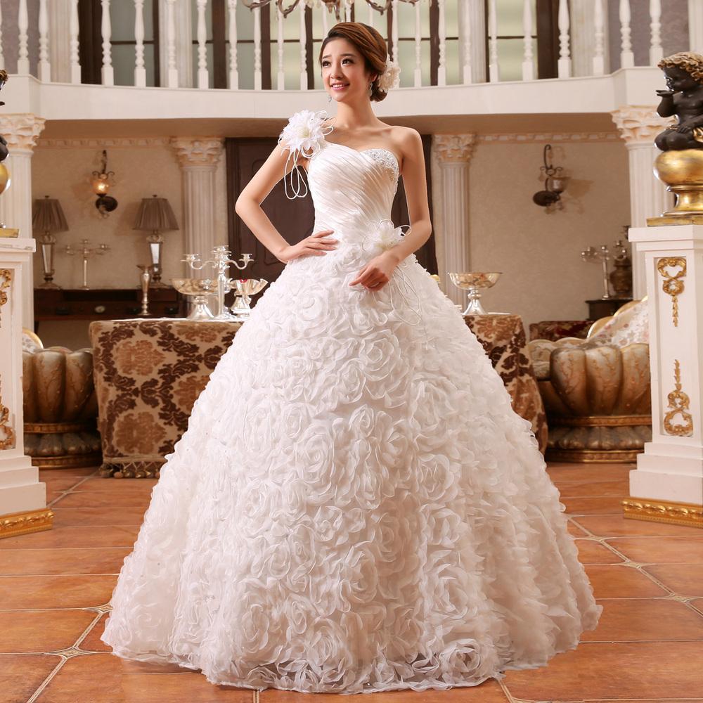 White Wedding Dress With Black Flowers: Flowers Wedding Dress One Shoulder Wedding Gowns Shoulder