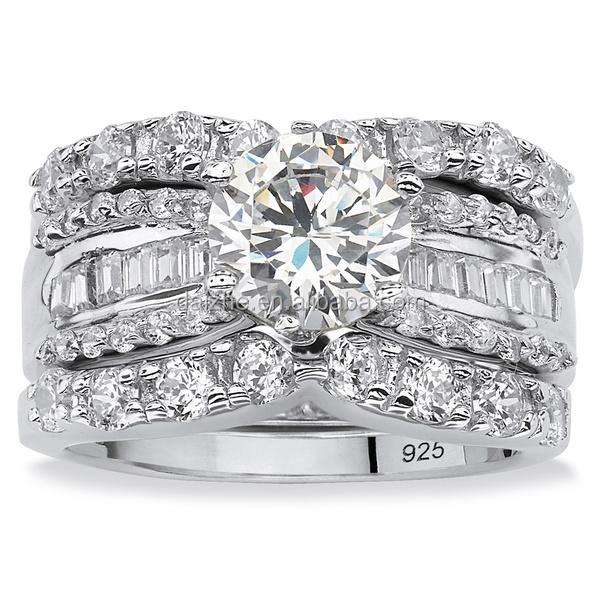 classic rhodium plated women silver cubic zirconia shiny diamond saudi arabia gold wedding ring price - High Quality Cubic Zirconia Wedding Rings