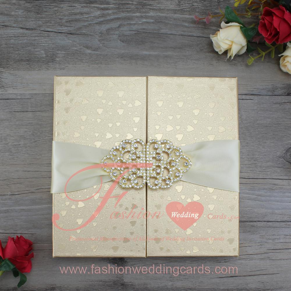 Thai Royal Heart Shape Luxury Gold Silk Box Wedding Invitation With ...