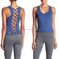 Women Fitness Tank Top Wholesale Custom Clothing High Quality Back Lace-Up Tank Top Women Gym