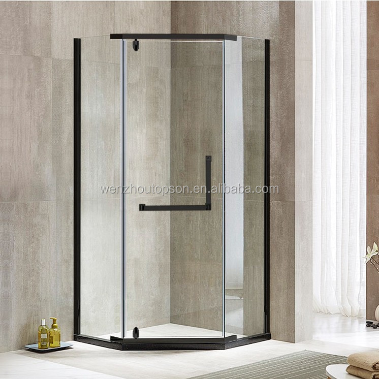 Black Diamond Frameless Tempered Glass Hinged Shower Door & Shower Screen