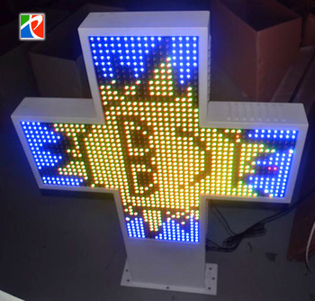 P25 Full color Ali express electrical LED cross pharmacy screen double faces moving message display screen